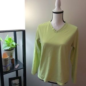L.L. Bean Yellow x Green Long Sleeve V-Neck Shirt